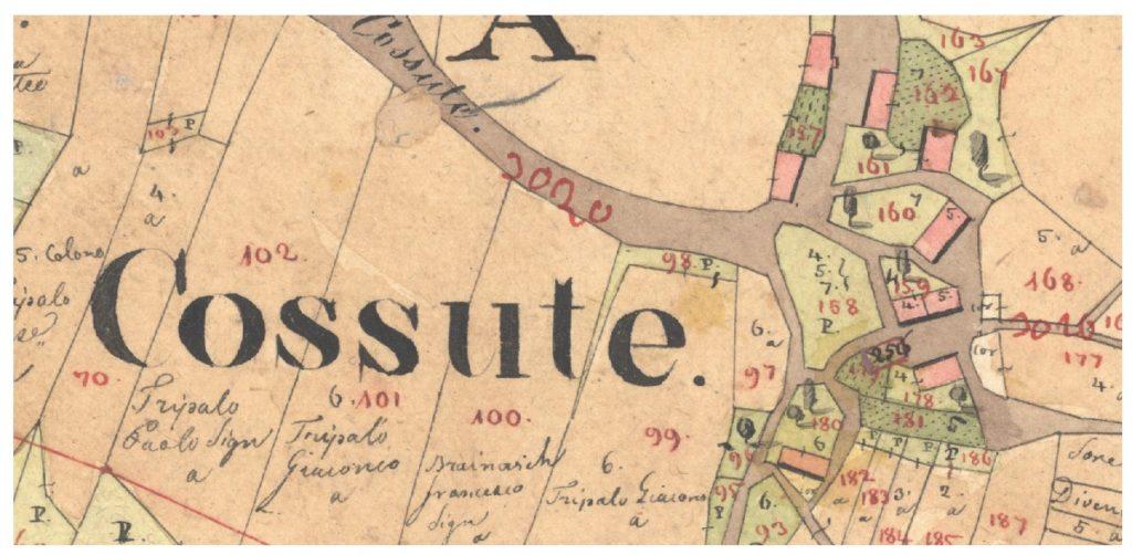 """Naziv Košute u obliku """"Cossute"""" na katastarskoj mapi iz 1832. godine."""