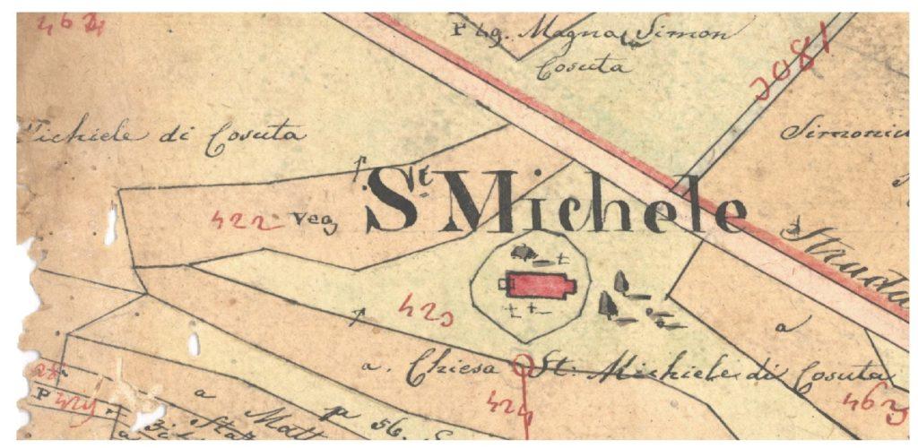 Sveti Mihovil košućki na katastarskoj mapi Košuta iz 1832.