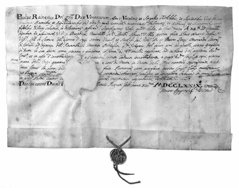 Dukala Pavla Ranierija harambaši Martinu Odrljinu pok. Grge, Venecija 1779., (f. Z. Alajbeg, 18. II. 2015.)