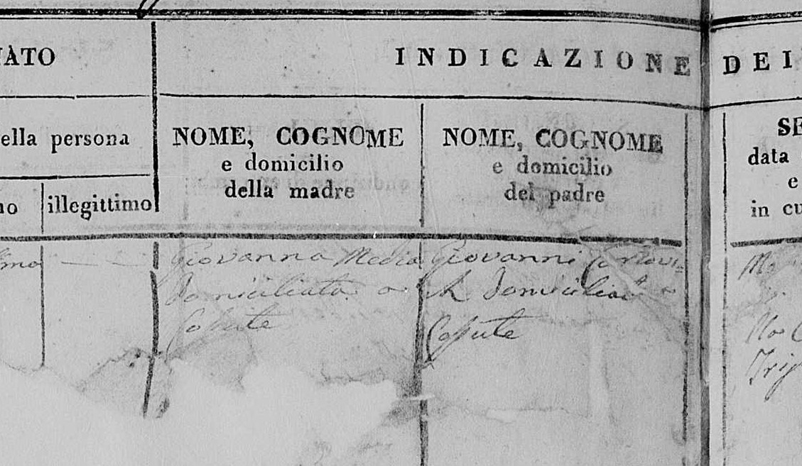 Isječak iz Matične knjige rođenih župe Trilj iz 1826. godine