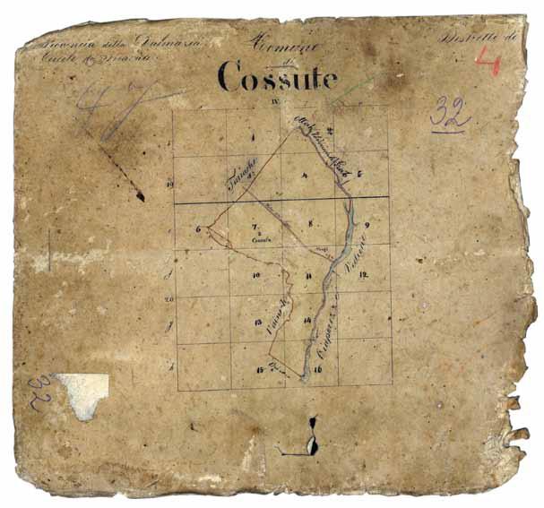 Mapa Katastarske općine Košute iz 1831.
