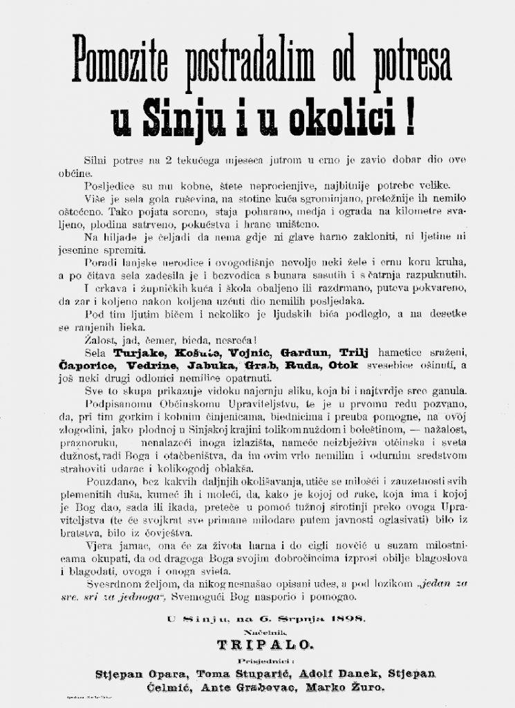 Molba sinjskog načelnika za pomoć, Sinj, 6. VII. 1898. (NAS, SM, Spisi 1898.)