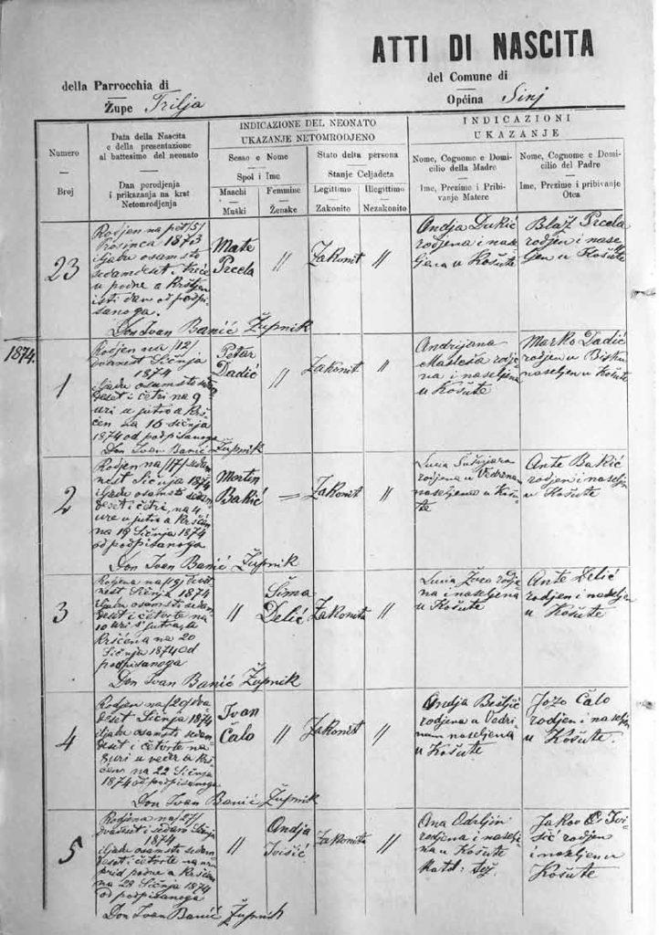 NAS, Prijepis Matice krštenih 1874., don Ivan Banić