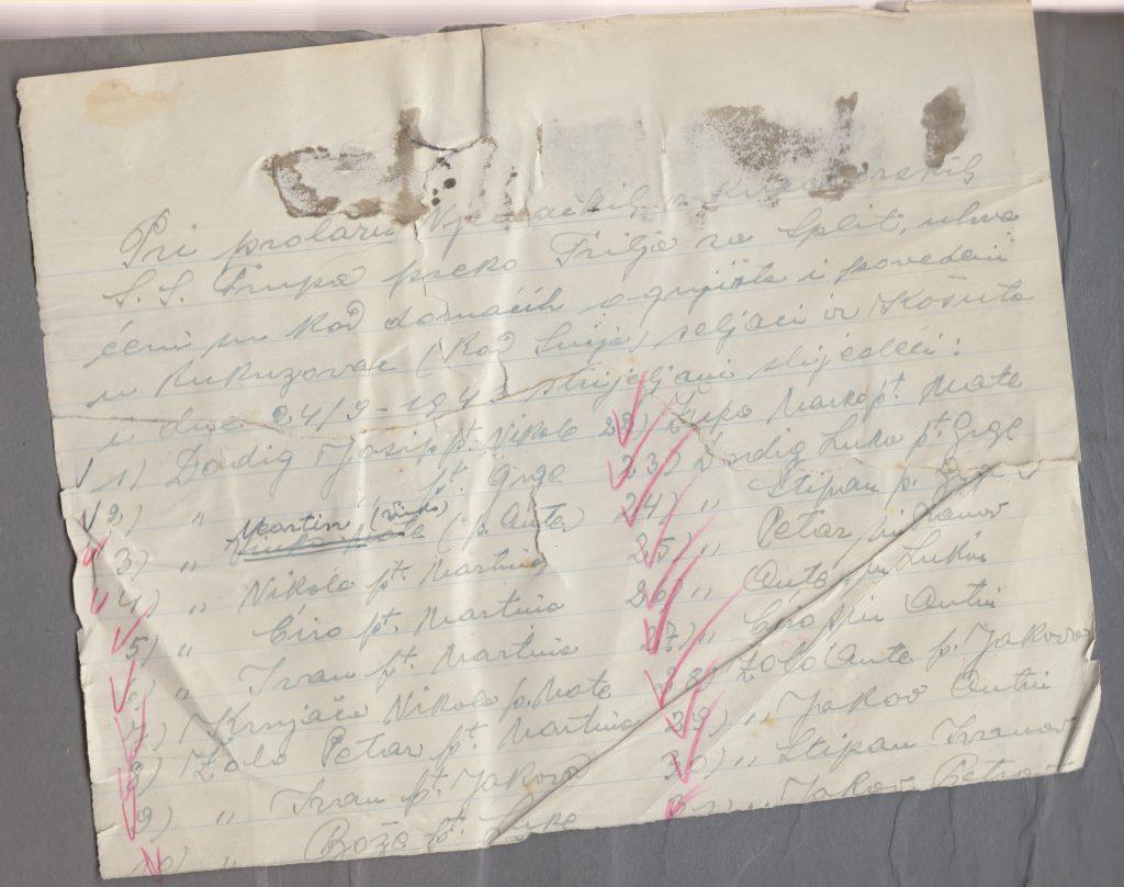 Popis žrtava koji je 26.9.1943. sastavio triljski župnik i dekan don Ante Bućan