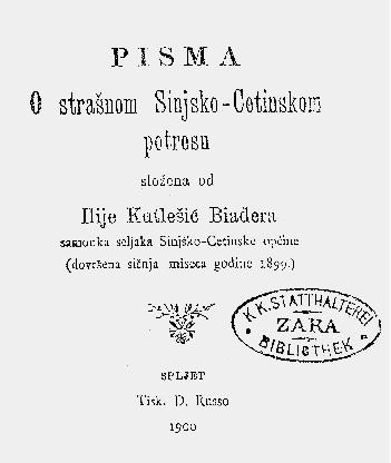 Preslik knjige Ilije Kutlešića-Bijadera o potresu 1898.